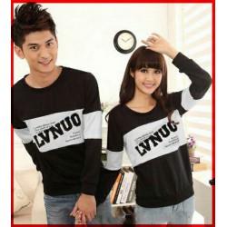 Sweater LVNUO Neo Black White - Mantel / Busana / Fashion / Couple / Pasangan / Babyterry / Kasual
