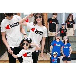 FM Love Ayah Bunda - Kaos / Family / 1 Anak / Couple / Fashion / Pasangan / Supplier / Grosir / Murah / Unik