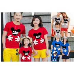 FM Mickey Dad Mom - Kaos / Family / 1 Anak / Couple / Fashion / Pasangan / Supplier / Grosir / Murah / Unik