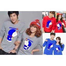 LP Kiss Doraemon - Lengan Panjang Couple / Kaos Couple / Baju Pasangan Grosir