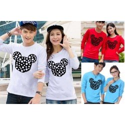 LP Mickey Abstract - Lengan Panjang Couple / Kaos Couple / Baju Pasangan Grosir