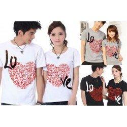 Love Full - Baju / Kaos / Oblong / Couple / Pasangan / Kombinasi / Katun Combed