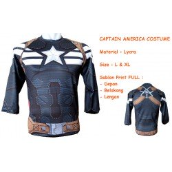 LP Captain America Costume - Kaos / Full Print / Thailand / Distro / Unisex / All Size / 3D