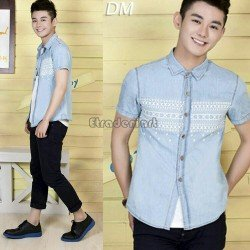 Hem Abel Aqua - Atasan Pria / Slim Fit / Formal / Kasual / Unik / Grosir / Murah / Stylish