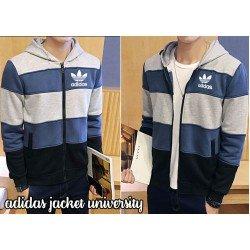 Jaket Adidas Stripe - Mantel / Hoodie / Pria / Kasual / Babyterry / Grosir