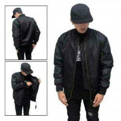 Jaket Bomber Black - Mantel / Sweater / Taslan Mayer / Jokowi / Waterproof / Tahan Air / Tebal
