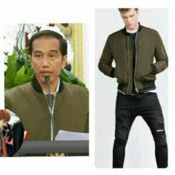 Jaket Bomber Jokowi Army - Supplier / Mantel / Zara / Fleece / Tebal / Kasual / Grosir