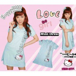 Mini Dress Kitty Baby Blue