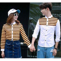 Line Full White Cream - Baju / Kemeja / Fashion / Couple / Pasangan / Pesta / Kasual