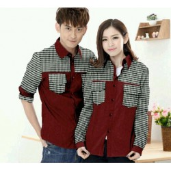 Pocket Square Maroon - Baju / Kemeja / Batik / Busana / Couple / Pasangan / Slim Fit / Katun Stretch