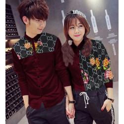 Guci Flower Maroon Hitam - Baju / Kemeja / Fashion / Couple / Pasangan / Batik / Pesta
