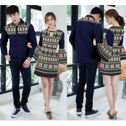 Mini Dress Liano Navy - Dress Couple / Baju Pasangan / Fashion / Couple