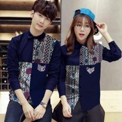 Medela Navy - Baju / Kemeja / Fashion / Couple / Pasangan / Batik / Pesta