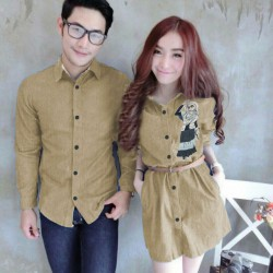 Mini Dress Karikatur Cream - Dress Couple / Baju Pasangan / Fashion / Couple