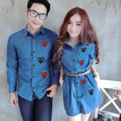 Mini Dress Play Biru Tua - Dress Couple / Baju Pasangan / Fashion / Couple