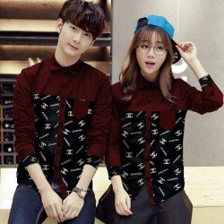 Channell Maroon - Baju / Kemeja / Fashion / Couple / Pasangan / Batik / Pesta