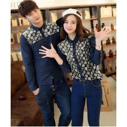 Curlia Navy - Baju / Kemeja / Fashion / Couple / Pasangan / Batik / Pesta
