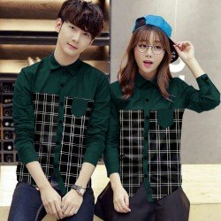 Double Square Hijau - Baju / Kemeja / Fashion / Couple / Pasangan / Batik / Pesta