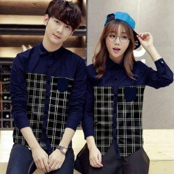 Double Square Navy - Baju / Kemeja / Fashion / Couple / Pasangan / Batik / Pesta