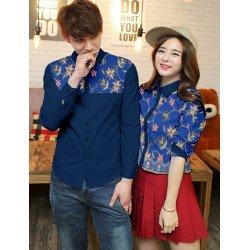 Flower Navy - Baju / Kemeja / Fashion / Couple / Pasangan / Batik / Pesta