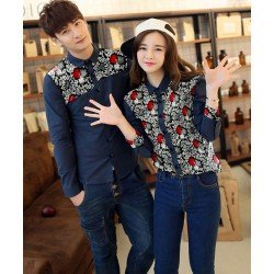 Grina Navy - Baju / Kemeja / Fashion / Couple / Pasangan / Batik / Pesta