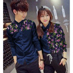 Jasmine Navy - Baju / Kemeja / Fashion / Couple / Pasangan / Batik / Pesta