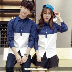 Jessica Navy White - Baju / Kemeja / Fashion / Couple / Pasangan / Batik / Pesta
