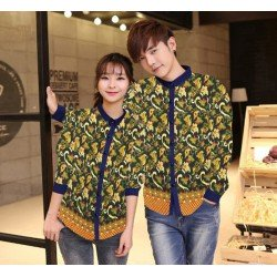 Leaf Navy - Baju / Kemeja / Fashion / Couple / Pasangan / Batik / Pesta