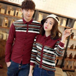 Line Rainbow Maroon - Baju / Kemeja / Fashion / Couple / Pasangan / Batik / Pesta