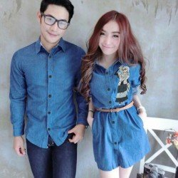 Mini Dress Karikatur Biru Tua - Dress Couple / Baju Pasangan / Fashion / Couple