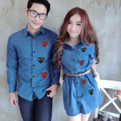 Mini Dress Play Biru Tua - Dress Couple / Baju Pasangan / Fashion / Couple