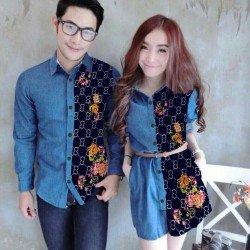 Mini Dress Ring Guci Biru - Dress Couple / Baju Pasangan / Fashion / Couple