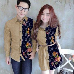 Mini Dress Ring Guci Cream - Dress Couple / Baju Pasangan / Fashion / Couple