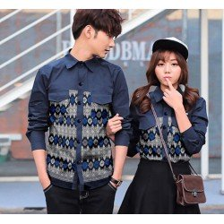 Namora Navy - Baju / Kemeja / Fashion / Couple / Pasangan / Batik / Pesta