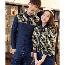 Origami Navy - Baju / Kemeja / Fashion / Couple / Pasangan / Batik / Pesta