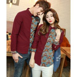 Wing Biru Maroon - Baju / Kemeja / Fashion / Couple / Pasangan / Batik / Pesta