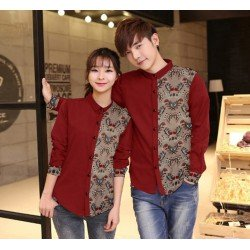 Wing Brown Maroon - Baju / Kemeja / Fashion / Couple / Pasangan / Batik / Pesta