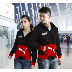 Jaket Puma Pocket Black Red - Mantel / Busana / Fashion / Couple / Pasangan / Babyterry / Sporty