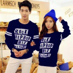 Sweater Rock Hip Hop Navy - Mantel / Busana / Fashion / Couple / Pasangan / Babyterry / Kasual