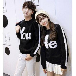 Sweater You Me Stripe Black - Mantel / Busana / Fashion / Couple / Pasangan / Babyterry / Sporty