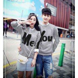 Sweater You Me Stripe Misty - Mantel / Busana / Fashion / Couple / Pasangan / Babyterry / Sporty