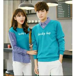 Sweater Lucky Boy Kombinasi Turquise - Mantel / Busana / Fashion / Couple / Pasangan / Babyterry / Kasual