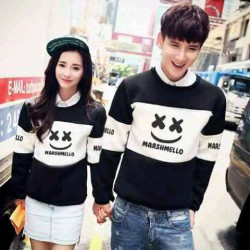 Sweater Marshmello Black White - Mantel / Busana / Fashion / Couple / Pasangan / Babyterry / Kasual