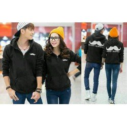 Jaket Kumis Black - Mantel / Busana / Fashion / Couple / Pasangan / Babyterry / Kasual