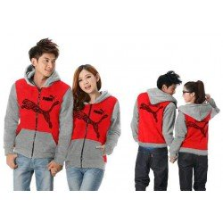 Jaket Puma Batik Red Grey - Mantel / Busana / Fashion / Couple / Pasangan / Babyterry / Sporty