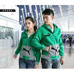 Jaket Puma Pocket Green Grey - Mantel / Busana / Fashion / Couple / Pasangan / Babyterry / Sporty