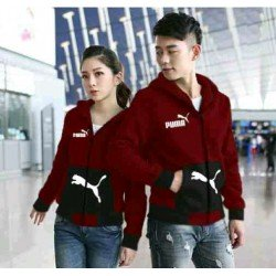 Jaket Puma Pocket Maroon Black - Mantel / Busana / Fashion / Couple / Pasangan / Babyterry / Sporty