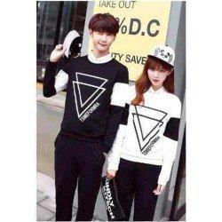 LP Piramida Black White - Baju / Kaos / Oblong / Couple / Pasangan / Kombinasi / Spandex