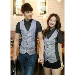 Stripe Vest Black - Baju / Busana / Kemeja / Fashion / Couple / Pasangan / Kasual