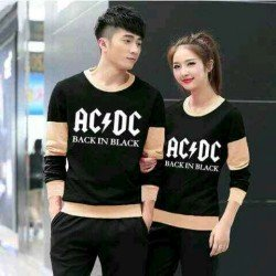 Sweater ACDC Black Mocha - Mantel / Busana / Fashion / Couple / Pasangan / Babyterry / Kasual